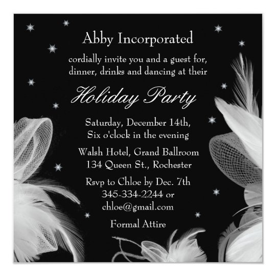 Black Winter White Feathers Holiday Invitation
