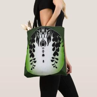 Black Wisteria Floral Motif accent Green Tote Bag