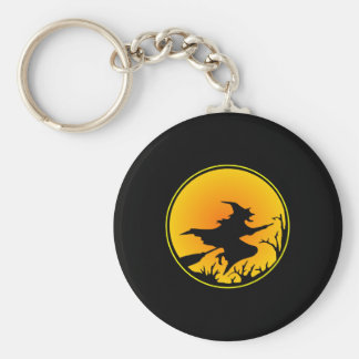 Black Witch Broom Circle Moon Basic Round Button Keychain