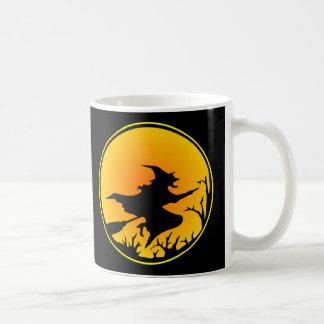 Black Witch Broom Circle Moon Classic White Coffee Mug