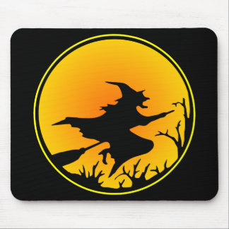 Black Witch Broom Circle Moon Mouse Pad