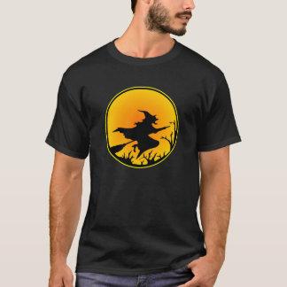 Black Witch Broom Circle Moon T-Shirt