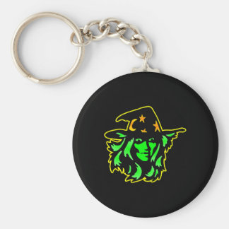 Black Witch Face Basic Round Button Keychain