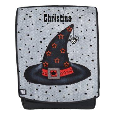 Halloween Themed Black Witch Hat Orange Stars Sash Dangling Spider Backpack