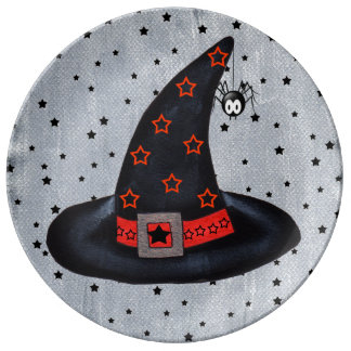 Black Witch Hat Stars Cute Spider Halloween Dinner Plate
