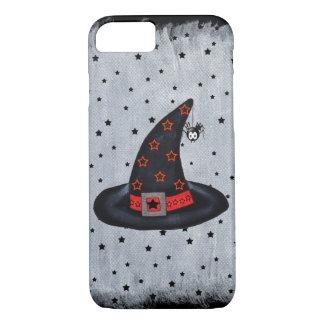 Black Witch Hat Stars Cute Spider Halloween iPhone 7 Case