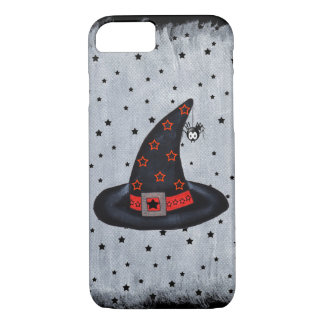 Black Witch Hat Stars Cute Spider Halloween iPhone 8/7 Case