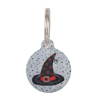 Black Witch Hat Stars Cute Spider Halloween Pet ID Tag