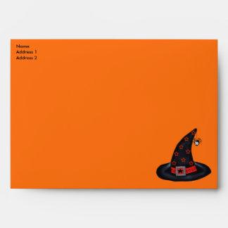 Black Witch Hat Stars Spider Halloween Samhain Inv Envelopes