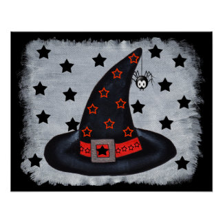 Black Witch Hat With Stars and Spider Poster