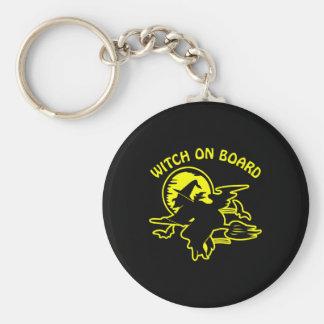 Black Witch On Board Basic Round Button Keychain