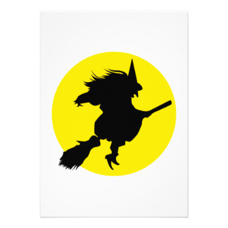 Black witch silhouette against golden full moon announcements