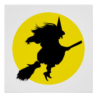 Black witch silhouette against golden full moon posters