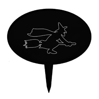 Black Witch spooky image Cake Topper