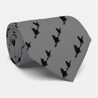 black witches on broomsticks spooky fun halloween tie