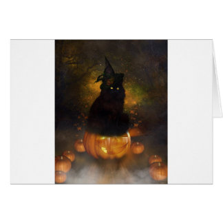 Black Witchy Cat Sits On Jack-A-Lantern Card