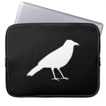 Black with a White Crow. Laptop Sleeve