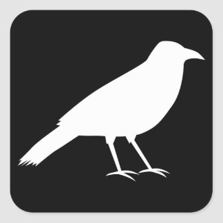 Black with a White Crow. Square Sticker