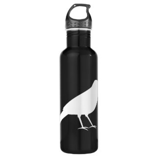 Black with a White Crow. Water Bottle