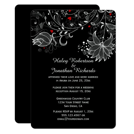 Black with Abstract White Flowers Red Hearts Invitation