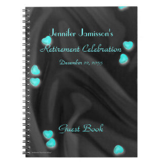 Black with Aqua Hearts Retirement Party Guest Book Spiral Notebook