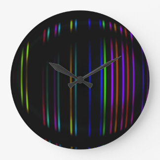 Black with Bright Lines Abstract Wall Clock