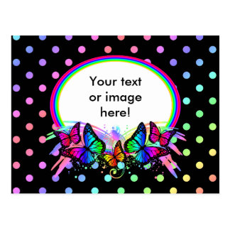 Black With Bright Rainbow Colors Butterflies Dots Postcard