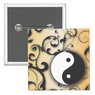 Black with Bronze Yin & Yang with scrolls Pinback Buttons
