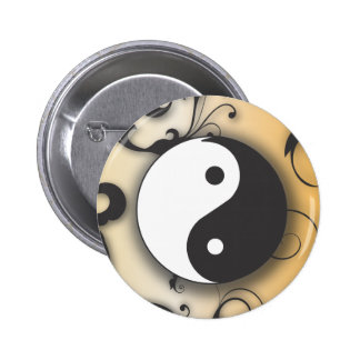 Black with Bronze Yin & Yang with scrolls Pin