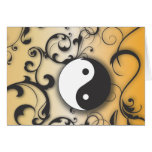 Black with Bronze Yin & Yang with scrolls Greeting Card