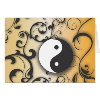 Black with Bronze Yin & Yang with scrolls Card