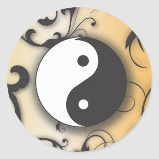 Black with Bronze Yin & Yang with scrolls Classic Round Sticker