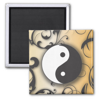 Black with Bronze Yin & Yang with scrolls Refrigerator Magnet