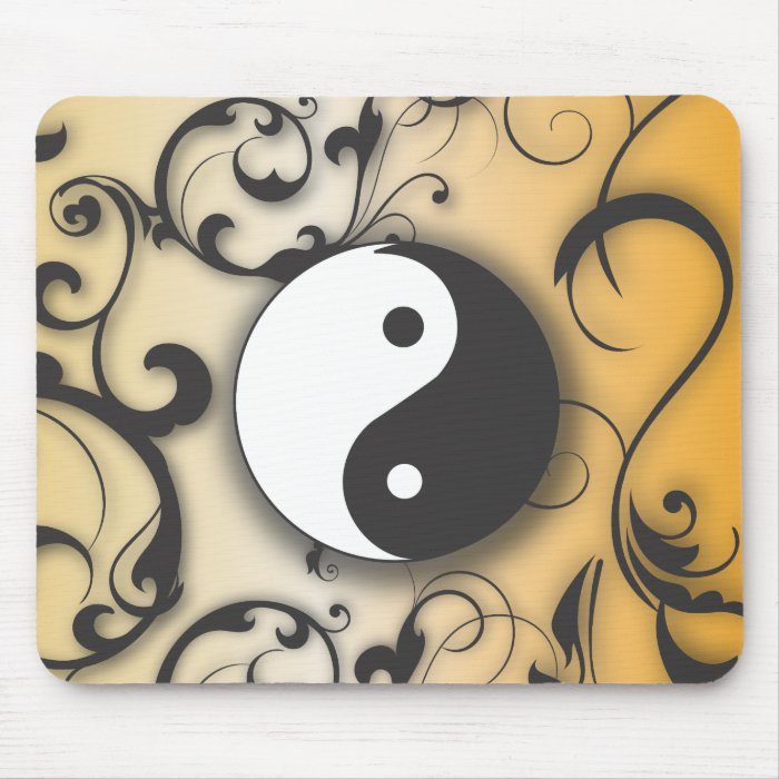 Black with Bronze Yin & Yang with scrolls Mouse Pad