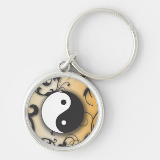 Black with Bronze Yin & Yang with scrolls Silver-Colored Round Keychain