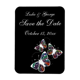 Black with butterflies Save the date Magnet