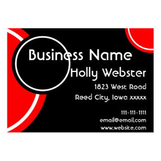 Black With Circles in Blue and Red Business Card Templates