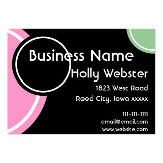 Black With Circles in Mint and Pink Business Card