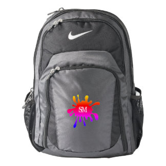 Black with Colored Splatter & Your Initials - Backpack