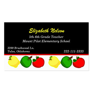 Black with Colorful Apples Teacher s business card