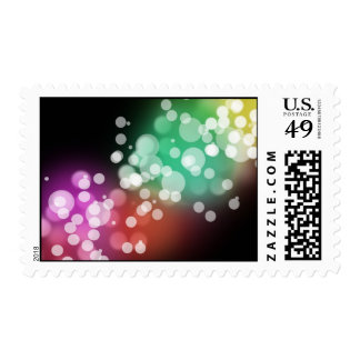 Black with Colorful Bokeh Lights Design Postage Stamps