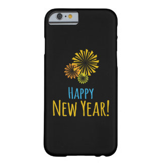 Black with Colorful Fireworks, Happy New Year Barely There iPhone 6 Case