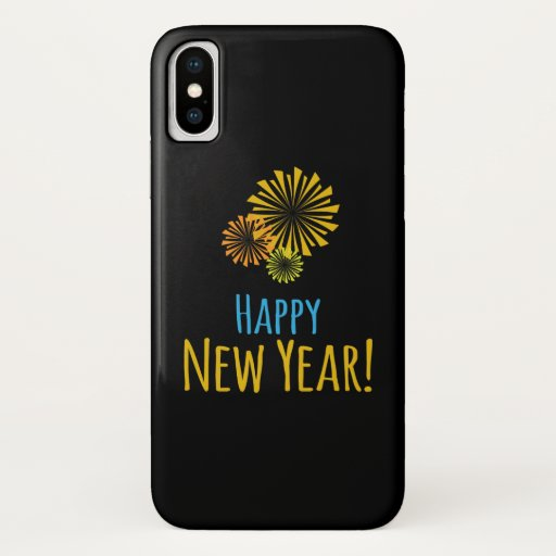 Black with Colorful Fireworks, Happy New Year iPhone X Case