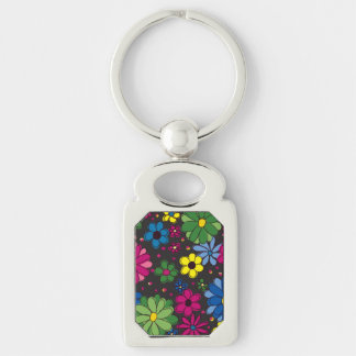 Black with Colorful Floral Keychain