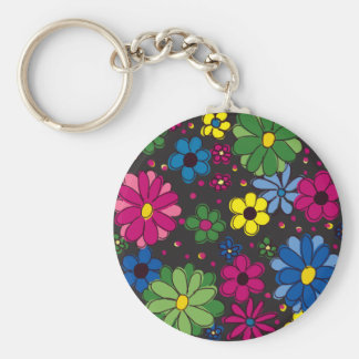 Black with Colorful Flowers Keychain