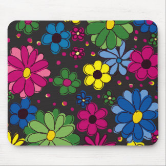 Black with Colorful Flowers Mouse Pad
