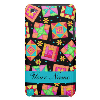 Black with Colorful Quilt Blocks & Personalized Barely There iPod Case