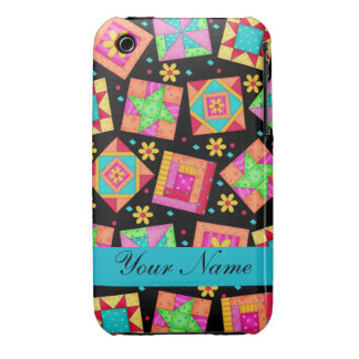 Black with Colorful Quilt Blocks & Personalized Case-Mate iPhone 3 Cases