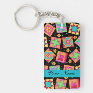 Black with Colorful Quilt Blocks & Personalized Keychain