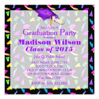 Black with Confetti Graduation Invitations